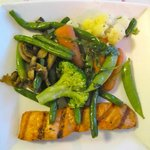 Grilled salmon and assorted veggies was about $10