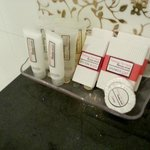 Nicely arranged toiletries @ bathroom
