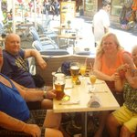 me, my wife, daughter and son in law relaxing with a very large cool Mythos