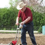 Here is Gerry working in the early garden.