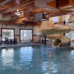 Indoor Pool, waterslide and hot tub