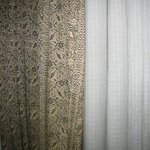 dirty curtains in the room