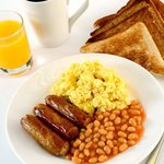 Our breakfast includes sausages, scrambled eggs, beans and more