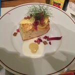 A modern twist on an onion and cheese tart starter