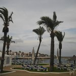 S'Algar hotel grounds on a windy cloudy day