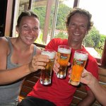Saba Divers Instructors having a draft Heineken after work