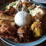 Lunch combo of Indonesian food. Big servings good enough for 2-3 people depending on appetite!