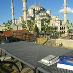View of Blue Mosque from roof-top patio of Hotel Sultan Hill.