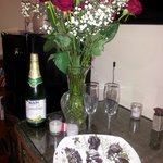 Roses and homemade chocolate strawberries!