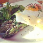 Asparagus and egg starter. Yummy.