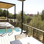 Private plunge pool, balcony and view