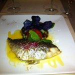 Superb Sea Bream, the skin glistened, served with black potatoes. Absolutely delicious! 'A' Star