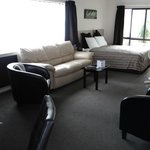 Downstairs lounge area and double bed