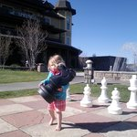 On the hotel grounds.  Kids love giant chess boards!