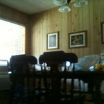 The dining table in the cabin