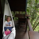 Hammock on balcony overlooking the Mossman River