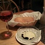 Zinfandel and complimentary bread.