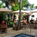Great time meeting folks during complimentary cocktail hour poolside at Andrews Inn