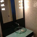 Sink area with touch lighting in glass