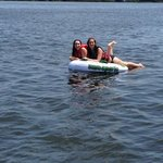 Hanging out on a raft during our boat ride