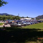 The parking lot of swimming pool from the grassy hill where we played frisby