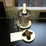 Our surprise 10-year Anniversary gift (card, champagne, strawberries). Thanks Kristin!