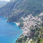 Closer view of Positano, the end of the trail, from up on the cliffs above.