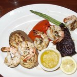 Steak with prawns and double-baked potato