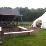 Our pitch with the bell tent