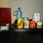 Some of the mini-bar items available.  Also a cold fridge with further items.