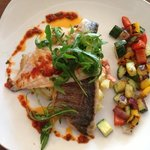 sea bass with mash and salsa
