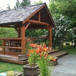 Gazebo with outdoor eating area
