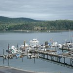 View of the marina and East Sooke from our room
