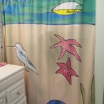 Hand painted shower curtain in the HUGE shower