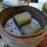 sticky rice dumpling at Lock Cha Tea Shop