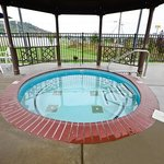 Our hot tub can hold up to 10 people.