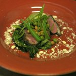 5 spice duck with bok choy, soya beans, curled spring onions and puffed wild rice