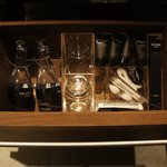 Drawer under sink with amenities