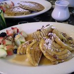Cinnamon roll french toast & whole grain pancakes
