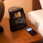 Guest room clock radio with Ipod connection.