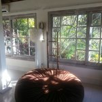 Comfy bean bag and windows overlooking gardens