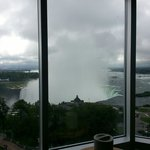 view of horseshoe falls while sitting in bed