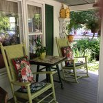 Wonderful porch at Gable Haus. Great for bird watching & a glass of wine!