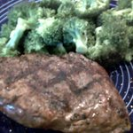 T steak and double broccoli