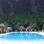 Pool with one of the Pitons right behind it