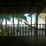 looking out my window at the hammock and beach