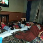 Youth sports friendly hotel!!! Let us take over their lounge for the boys to watch movies togeth