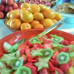Fresh fruit breakfast buffet.