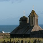 Fort Ross chapel and Pacific Ocean, copyright Paul C Miller