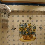 Pretty painted tiles in the bathroom